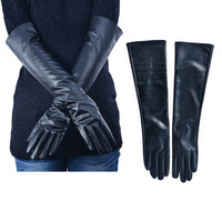 Women's Faux Leather Elbow Gloves Winter Long Gloves Warm Lined Finger Gloves New Y8 T06