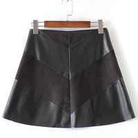 2016 Fashion Black Suede Stitching PU Mini Skirt with Inner Liner