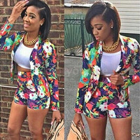 New Sexy 2 Piece Clothing Set Casual Tops & Short  Floral Print  Women Long sleeve Blazer & Short Pants Suit [9221959748]