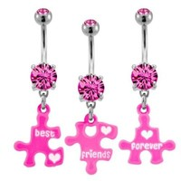 Three Piece Broken Best Friend Puzzle Belly Ring-Sold as a set