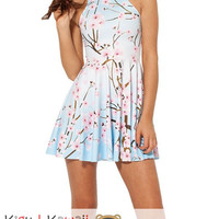 New Relaxing Cherry Blossom Print Sleeveless Skater Dress Spring and Summer Cloth KK690