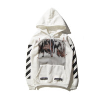 Autumn and winter new Off white oblique stripe cotton jacket sweater coat tide White