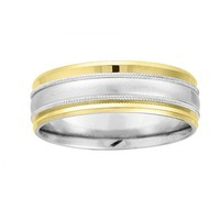 7mm wide mens wedding band with brushed center band and finished with milgrain and raised polished bands.