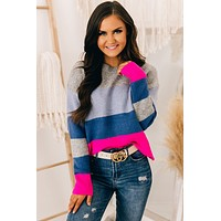 Noticing You Color Block Sweater (Hot Pink)