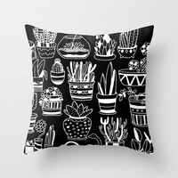 Succulent Party (Night Version) Throw Pillow by Alliedrawsthings | Society6