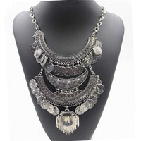 Bohomian Carved Coin Necklace