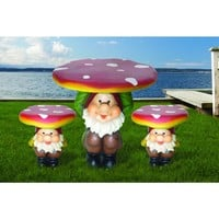 Multi-Color 3-Piece Gnome Garden Patio Bistro Set-JF1082702M at The Home Depot