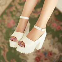 Pu Leather Platform Sandals Ankle Straps Chunky Heel Women Pumps High Heels Shoes Woman 3454