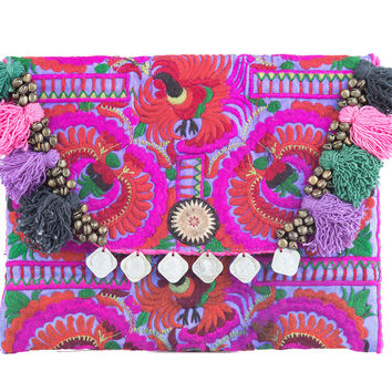 Pom Poms Ipad Clutch Bag with Hmong Embroidered in Purple