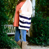 Turn About Cardigan, White/Navy