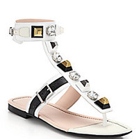 Fendi - Embellished Leather Thong Sandals - Saks Fifth Avenue Mobile