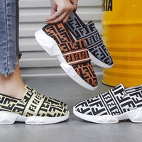 FENDI sells women's sneaker fashionable canvas patchwork printed casual shoes
