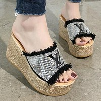 LV Trending Women Casual Stylish Rhinestone Thick Soles High Heels Sandals Slippers Black