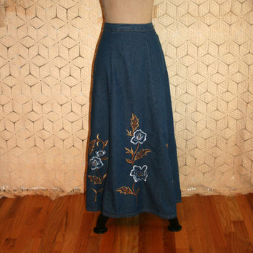 Floral Embroidered Denim Skirt Denim Maxi Skirt Country Boho Skirt Cowgirl Chic Western Long Denim Skirt Large XL Womens Plus Size Clothing