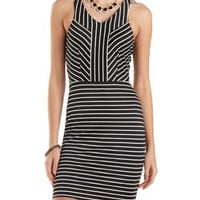 Black Combo Mixed Stripe Bodycon Dress by Charlotte Russe