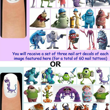 60x Monsters Inc. Inc OR Monsters University Inspired Nail Art Decals Decal + Free Gift Disney Sulley Mike Boo Randall Hardscrabble Squishy
