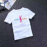 """Yves Saint Laurent YSL"" Women Casual Multicolor Fashion Letter Big Logo Short Sleeve T-shirt Top Tee"