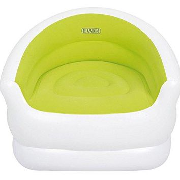 By PoolCentral 37 inch  White and Green Color-Splash Indoor/Outdoor Inflatable Lounge Chair