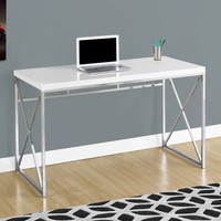 "Computer Desk - 48""L / Glossy White / Chrome Metal"