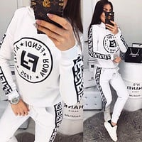 FENDI Hot Sale Women Casual Long Sleeve Top Pants Set Two-Piece
