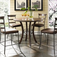 102009 Cameron 5-Piece Counter Height Round Wood Dining Set with Ladder Back Stool - Free Shipping!