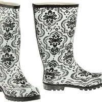NOMAD Puddles Pull-On Damask Rain Boot [PUDDLES II], WHITE/BLACK FLORAL, 5