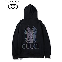 GUCCI x NY fashion glow-in-the-dark LOGO hoodies are hot sellers of casual hoodies for couples Black