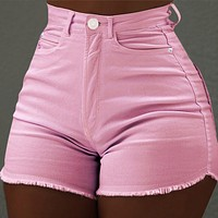 New hot pants solid color slim pocket shorts fashion raw edge jeans pink