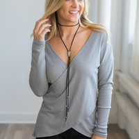 Elan Waffle Knit Cross Over Top - Grey