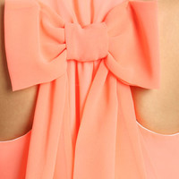 NEON CORAL BOW BACK DRESS