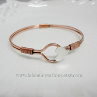 Copper, Brass or Sterling Silver Bangle Bracelet with Heart on Closure, Hand Crafted Bangle Bracelet, Personalized Gifts for Her