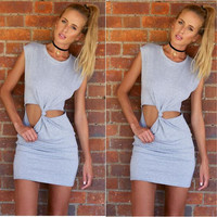 Knot Tie  Sleeveless Bodycon Dress