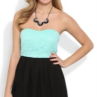 Strapless A Line Dress with Daisy Lace Bodice and Open Bow Back