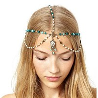 SALE  Boho Handmade Rhinestone Blue Beads Pearl Gold Head Chain Headband Headpiece Hair band Hair Jewelry