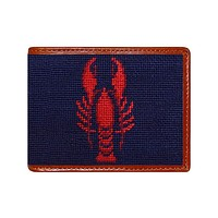 Lobster Needlepoint Wallet in Dark Navy by Smathers & Branson