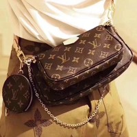 LV Louis Vuitton pochette chain bag shoulder bag three pieces suit