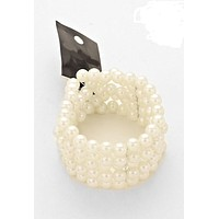 """1.50"""" wide  5 layer faux pearl stretch bracelet bangle cuff bridal prom pageant"""