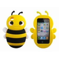 Cute 3D Bee Silicone Case Cover Skin for iPhone 4 4S Yellow