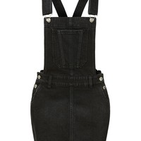 LE3NO Womens Distressed Ripped Frayed Hem Denim Overall Dress with Pockets