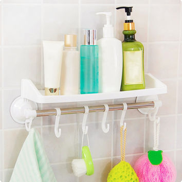 4 Colors Suction Bathroom Racks Corner Hanging Storage Towel Rack With Hook Toothbrush Holder Cup Organizer Drop Shipping