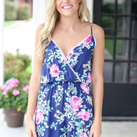 Straight Answer Romper - Navy