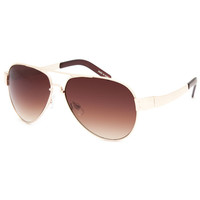 Blue Crown Tonal Aviator Sunglasses Gold One Size For Women 25378062101