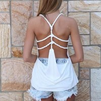 White Twisted Strap Exposed Cage Back Top