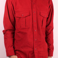 Vintage Eddie Bauer Button Up Outdoors Hunting Red Flannel Mens Shirt - Lumberjack Grunge - Seattle USA