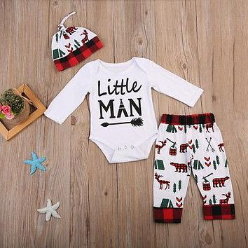 Little Man Baby Boy Onsie + Long Pants Hats 3pcs Outfit