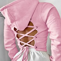 New women's back strap sexy hollow cropped hooded short sweater