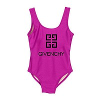 Givenchy Summer Beach Personality Letter Print Vest Style U Collar One Piece Bikini Swimwear Bathing(7-Color) Rose Red I-ZDY-AK