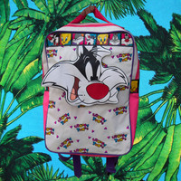 90's Looney Tunes Sylvester pink purple kid backpack