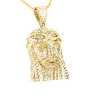 316 Stainless Steel Yellow Gold Finish Jesus Face Pendant Chain Set
