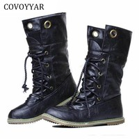 Winter Vintage Women Boots British Knitted Cuff Flat Military Ankle Boots Women Fashion Warm Woman Shoes Size 34-43